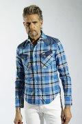 1piu1uguale3 ウノピュウノウグァーレトレ WRANGLER COLLECTION CHECK/DENIM western combi shirts{MRS056-CTL011-54-AFS}