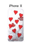 【30%OFFセール|8,316円→5,822円】  IPHORIA アイフォリア Transparent with Floating Red Hearts【リキッドコレクション】【iPhone X】{-AHS}