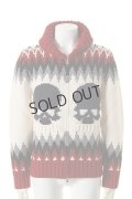 {SOLD}GEMMA.H UOMO ジャンマアッカウォモ SUPERGEELONG KNIT KOWICHAN SKULL JAQUARD15{USG-CW15T-110P-RED-AEA}